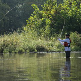 Man fishing on the Caney Fork River.